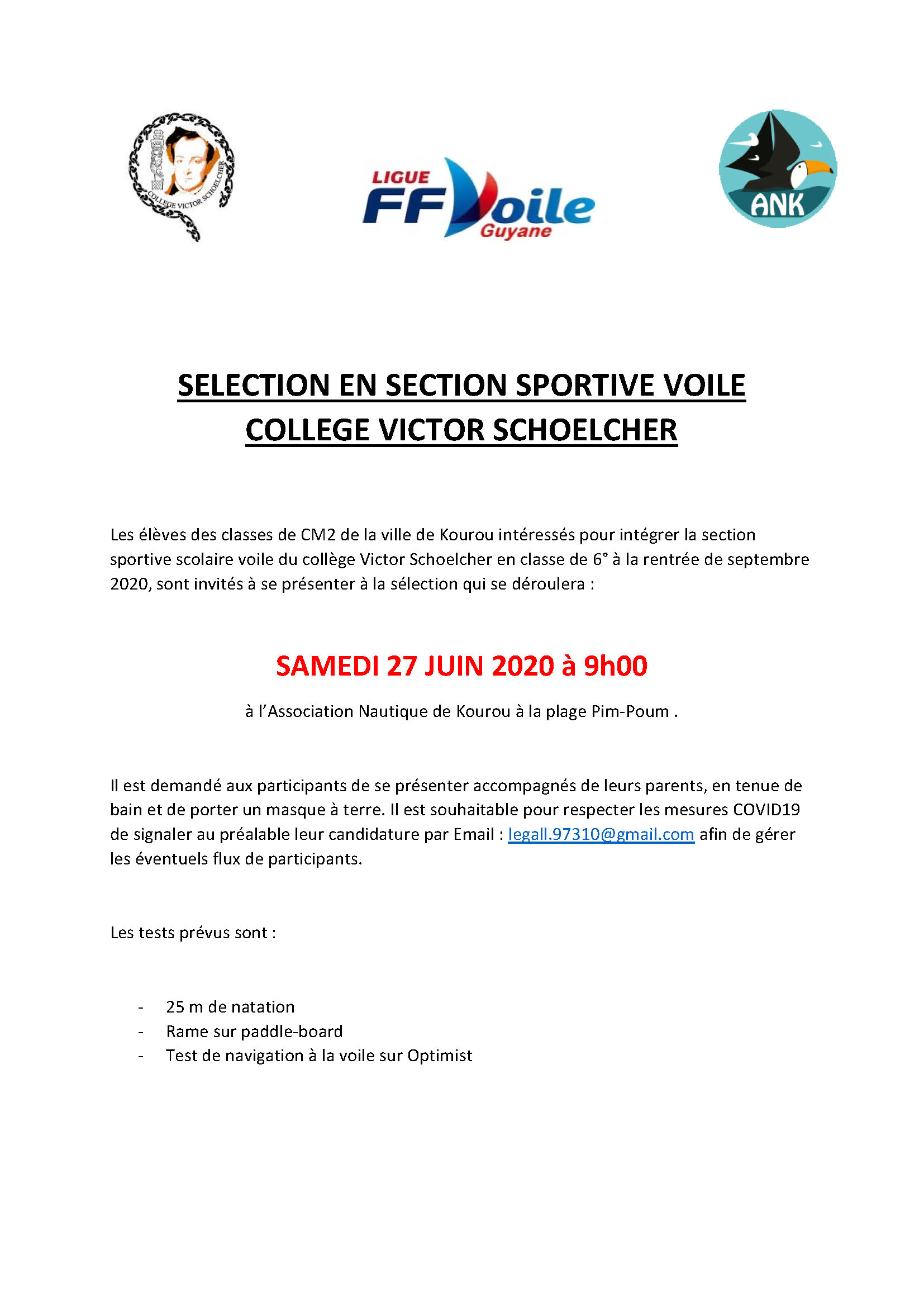 SELECTION EN SECTION SPORTIVE VOILE COLLEGE VICTOR SCHOELCHER 2021 1